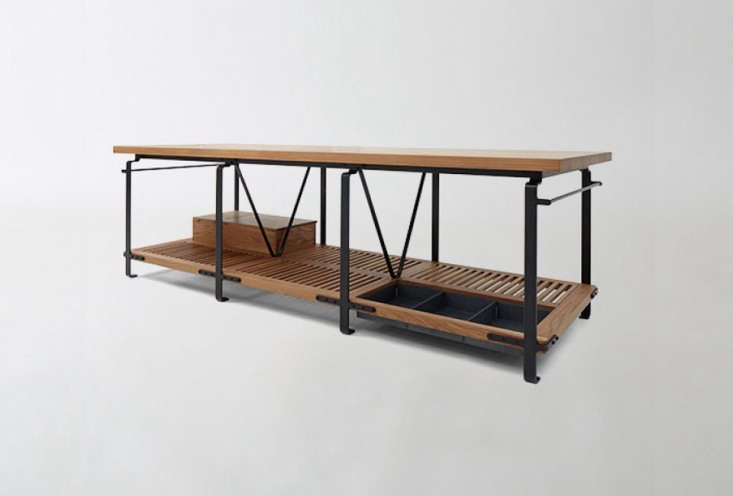 The March Kitchen Work Table, designed and fabricated by Berkeley-based Matt Bear, combines the lines and lightness of a kitchen table with optional accessories for tools and storage; $,395.