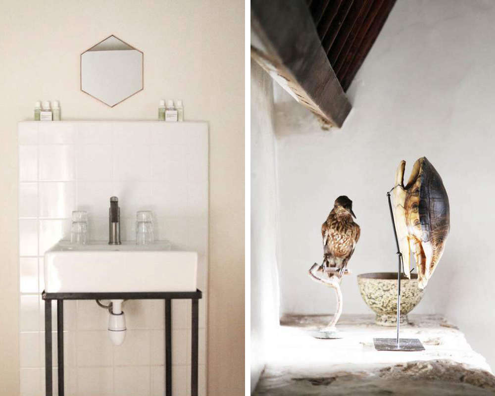 Above L: An abridged version of a bath with a hexagonal mirror and Malin & Goetz amenities. Above R: Taxidermy and an empty tortoise shell accent the Grand Suite.