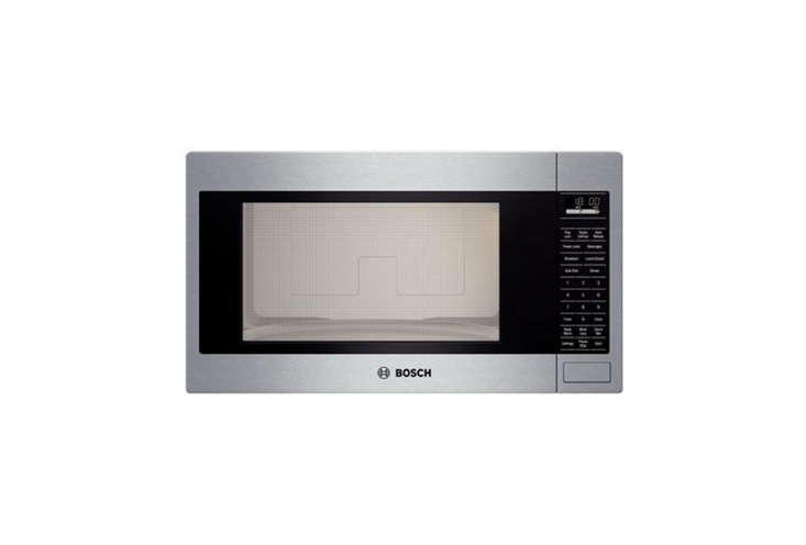 10 Easy Pieces Builtin Microwaves The Bosch Built in Microwave in stainless steel is a flush to cabinet style that can be used (as shown) with the Bosch \27 Inch Trim Kit. It&#8\2\17;s also available in white or black; \$584 at Abt; trim kit \$\2\24.