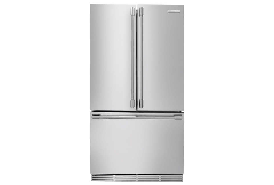TheElectrolux Icon Professional Counter-Depth Refrigerator with French doors and bottom freezer looks similar to more expensive built-in models; $3,9 at Plessers.
