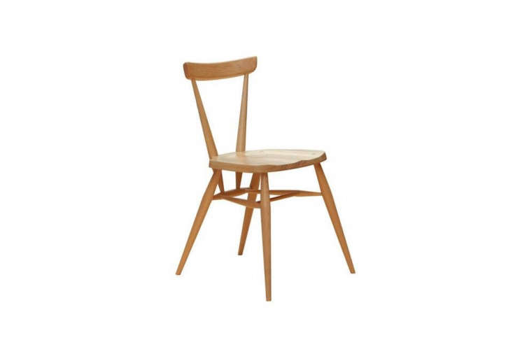 the ercol stacking chair, \17.75 inches wide, \19.75 inches deep, and 30.\25 in 9