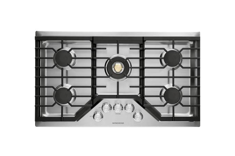 the ge monogram 36 inch gas cooktop (zgu36rslss) is \$\2,\100 at aj madison. 13