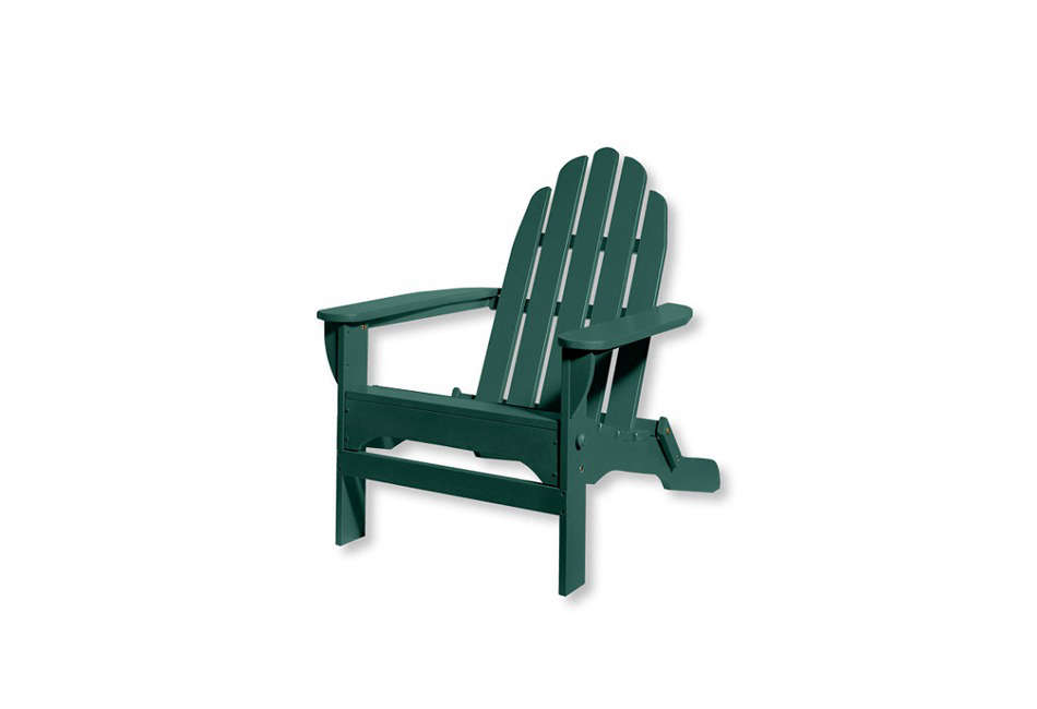 What we now consider the classic Adirondack Chair is constructed with many slats and a rounded top. This version, $9 at L.L. Bean, is foldable for off-season storage.