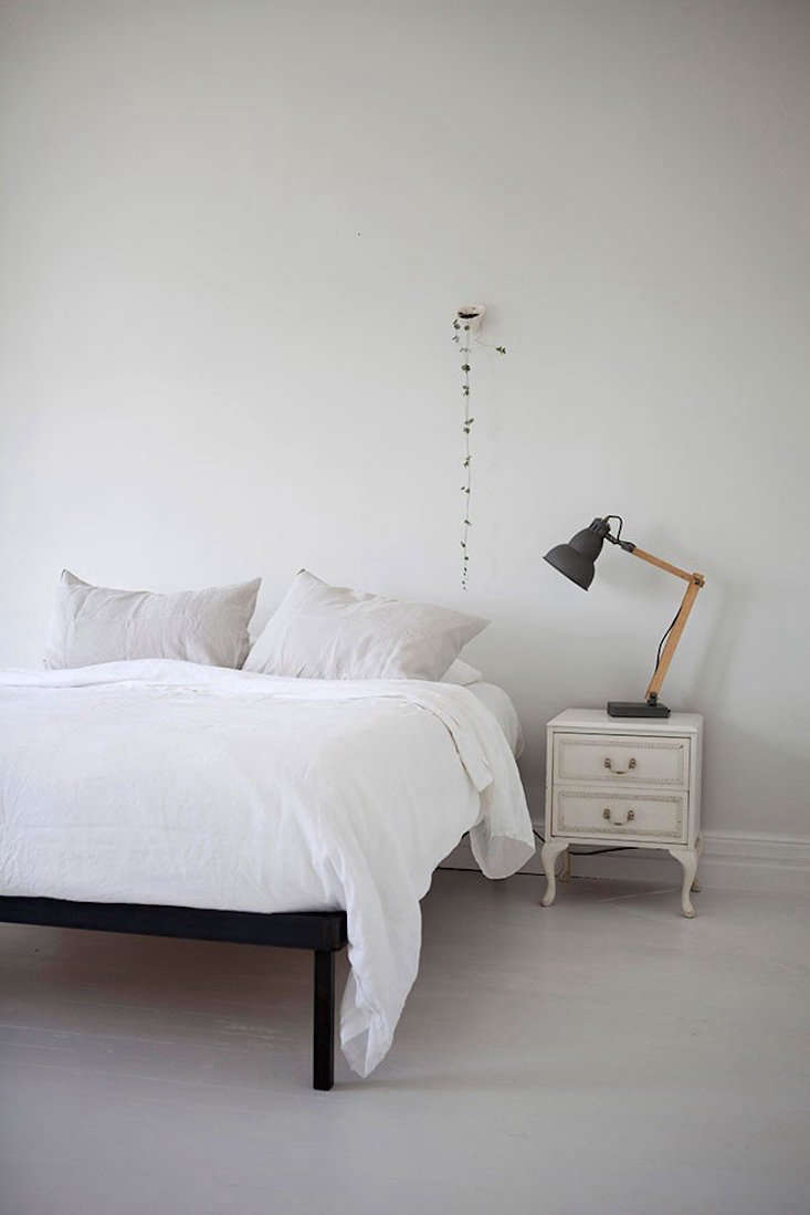 That little set of drawers next to a bed by Father Rabbit Limited looks like something from my Great Aunt Dot&#8