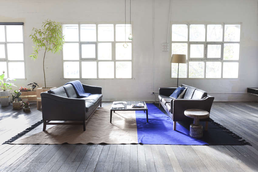 Even in a huge space like thishotel loft by Lost &Found, you can create an intimate grouping by positioning seating and side tables close together.