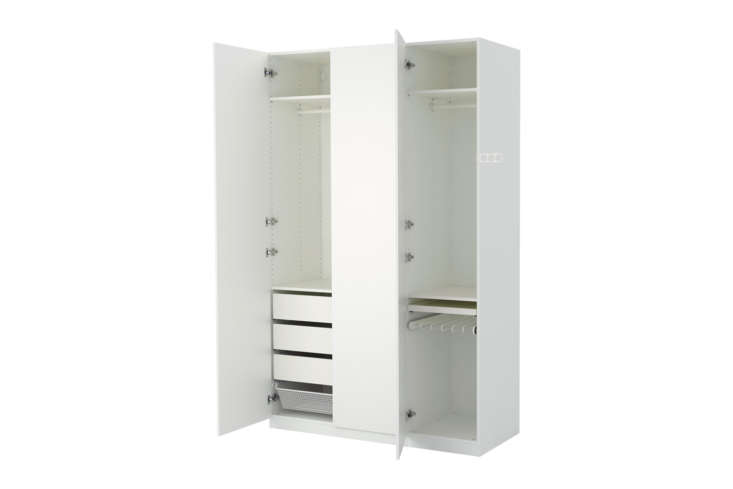 The Ikea Pax Wardrobe in white is the most simple of all the armoires on our list, and also the most affordable with prices starting at $3 for a single cabinet (shown here, the model is $665).