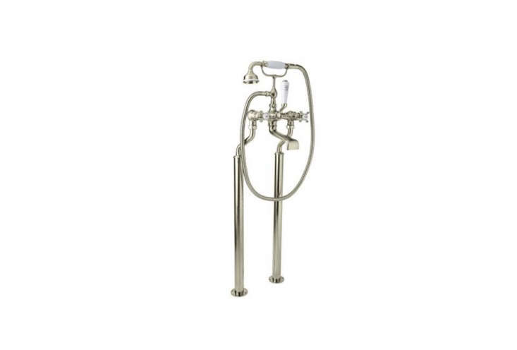 rohl&#8\2\17;s exposed tub filler with hand shower features a hand shower 16