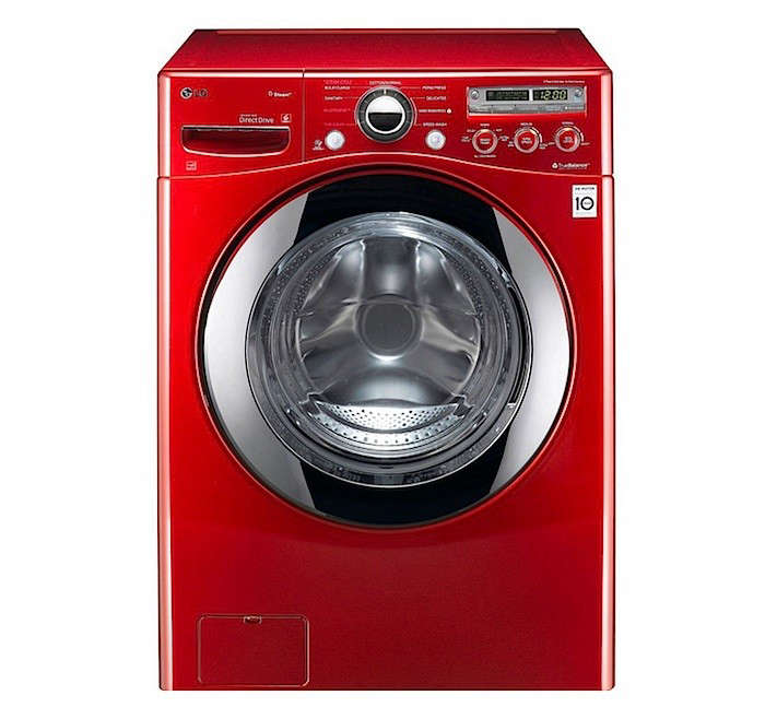 LG red front loading washer steam