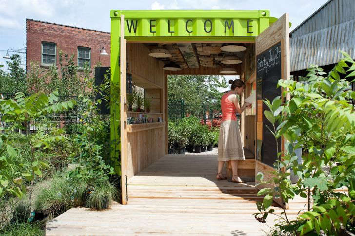 Evergreen Brickworks, an environmental community center in Toronto, has a welcome hut made from a repurposed -square-foot shipping container that architect Levitt Goodman renovated and painted bright green. He installed a rainwater chain to direct excess water into a rain barrel on the side of the hut. (Intrigued by rainwater chains? Have a look at Gardenista&#8