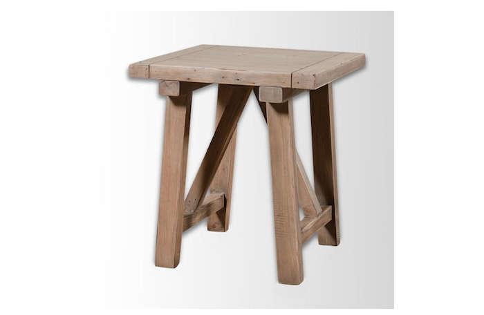 Wooden Truss Side Table