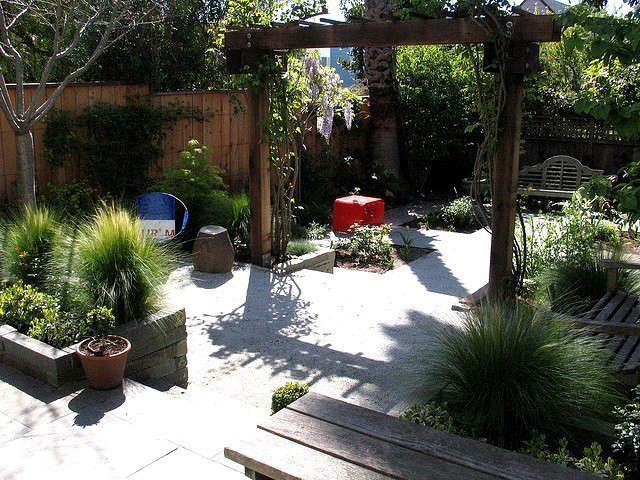 four square garden: this garden has a classical vibe but we added furniture to  14