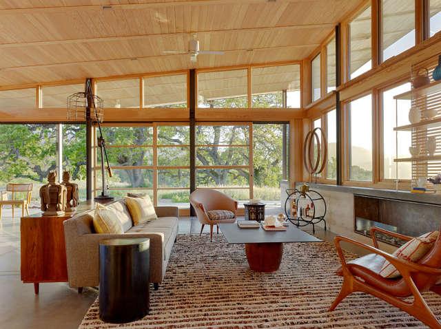 living room, caterpillar house, carmel, california photo: joe fletcher 37