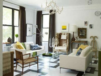 Manhattan Apartment Eclectic Living Room: This living room features an eclectic mix of eclectic styles accented with a boldly graphic floor