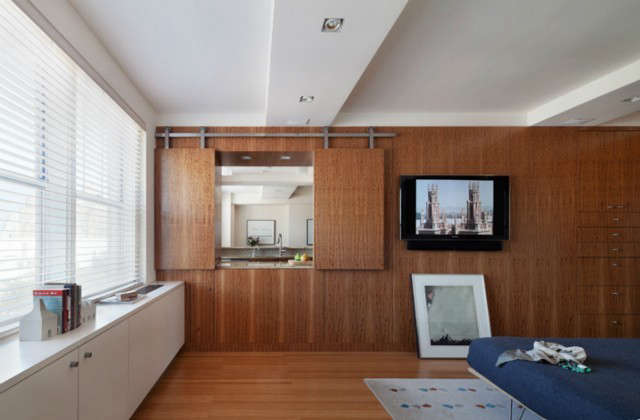 into the living room, from the bedroom at horatio apt: click here for full proj 64