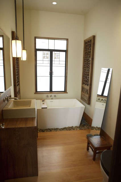 monterey street bathroom: shaker simplicity meets asian styling and serene line 28