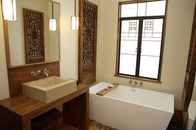 Monterey Street Bathroom: Antique Chinese screens are from Nancy McKay, and custom pendant lights are by local lighting designer Michael McEwen. Custom vanity and custom sliding medicine cabinet panel are by Randall Wilson. In collaboration with Alhorn Hooven Design Build. Photo: eurydice galka