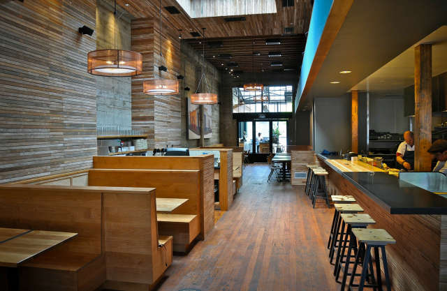 comal entry view: exposed wood lath on the walls and ceiling contrast with the  16