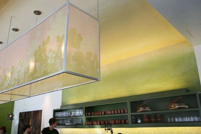 Nopalito Restaurant: We achieved the glowing lantern effect during the day by the use of gradated paint color and a gradated color tile backsplash. Photo: eurydice galka