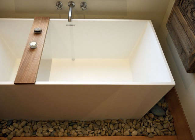 monterey street bathroom: a shallow stainless steel pan set into the flooring h 30