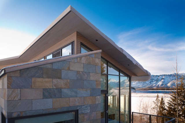 jackson hole residence: this residence is located on a steeply sloping hillside 10