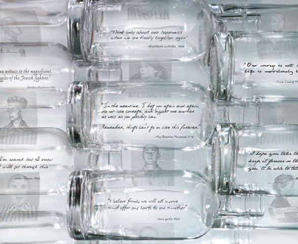 Holocaust Memorial: 0,000 solid glass bottles cast from recycled glass, etched with the words and faces of survivors and bound together in an innovative post tension design, rise out of the sand on the shores of the Atlantic as a glimmering beacon of hope and testament to human resilience in the face of atrocity