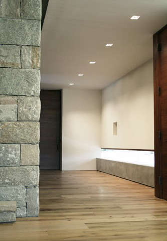entry hall: a low concrete wall with frameless glass provides views to the garden with ample wall space for artwork