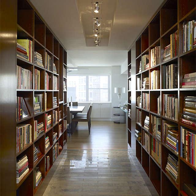 East th Street Apartment, New York, NY: library hallway Photo: Peter Murdock