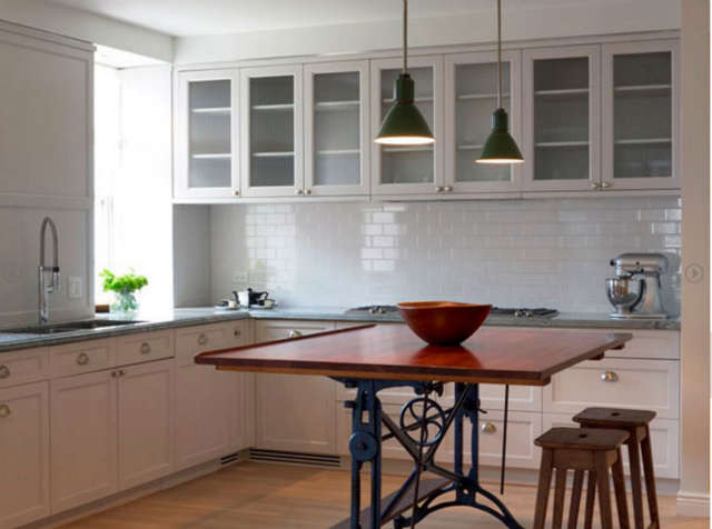 west village kitchen &#8\2\1\1; we used a vintage drafting table instead of 36