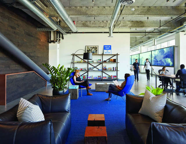 Geremia Design Dropbox Offices: Dropbox has grown quickly, so my design for their office had be adaptable. The lighting and sound systems were specifically created to make the workplace as pleasant as it is productive. Custom mobile furniture allows for easy collaboration, anywhere, anytime. Photo: Bruce Damonte Photography