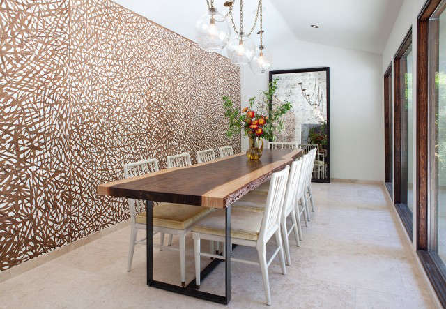 Geremia Design Hillsborough House Dining Room &#8\2\1\1; The dining room of a Geremia Design residential project in Hillsborough, CA. Custom lighting designed by our firm. Visit our website for more information.