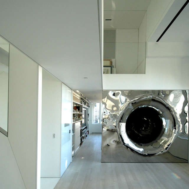 slide exit at gallery: at the exit from the slide, the stainless tube flares to 26