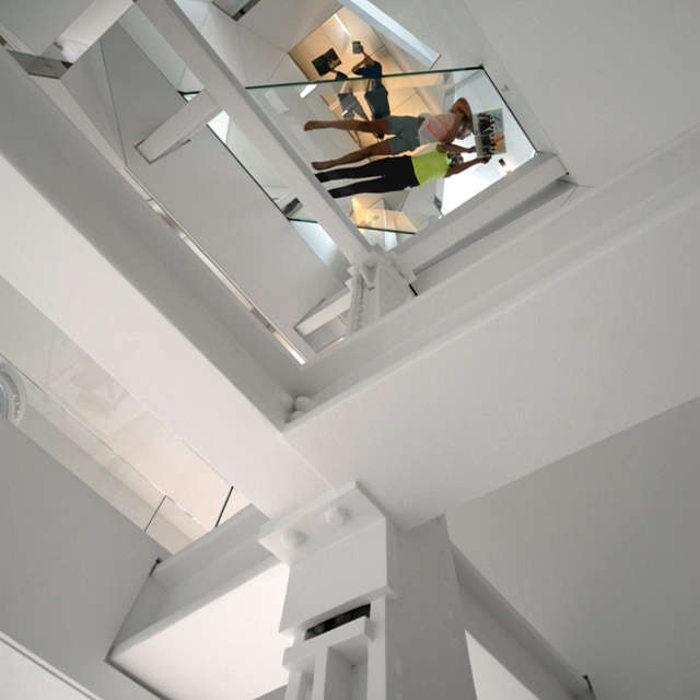 stairwell viewed from entry: from the entry, the stairwell ascends through all  25