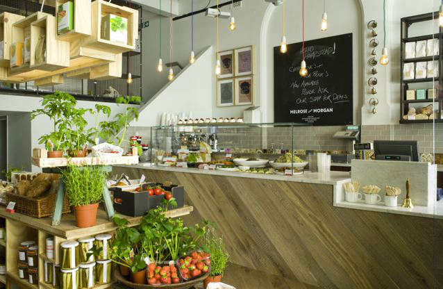 Grocers Store, Hampstead, London: Commissioned by a London based grocery shop and kitchen, the brief was to transform a bagel shop in to a light, welcoming space that combined period decorative elements and class=