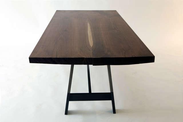 Studio Bartleby Cambridge Trestle: Custom dining table of black walnut slab and darkened steel trestle base. A collaboration with December Box, Brooklyn, NY. Photo: Anna Van Lenten