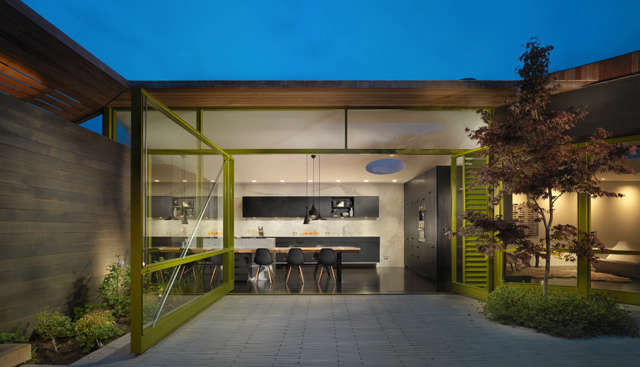 mill valley courtyard: this home is organized around a rear courtyard. a large  9