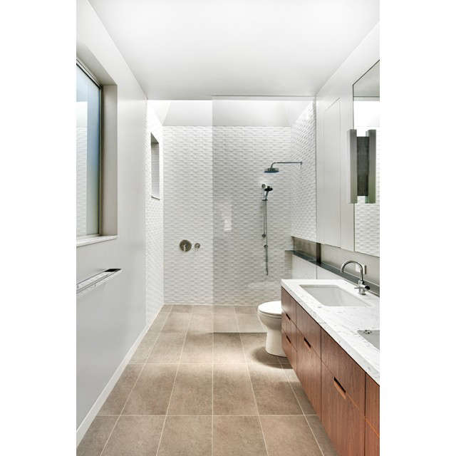 Schwartz and Architecture A Bath &#8\2\1\1; A Bath San Francisco, CA This small, but challenging, bathroom remodel in an existing Victorian home gained a sense of luxury and spaciousness through the insertion of a dramatic skylit volume over the shower. The addition of this natural light from above allowed us to highlight the material textures of the space and how they change over the course of the day.