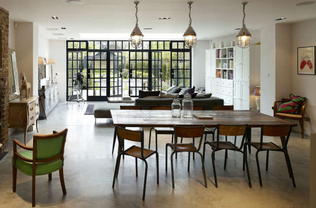 The Grove House: Extensive refurbishment and addition to a large family home in Ealing, an industrial aesthetic of concrete and steel coupled with luxury materials give this property a unique quality which fits the clients brief and lifestyle. Photo: Kilian OSullivan