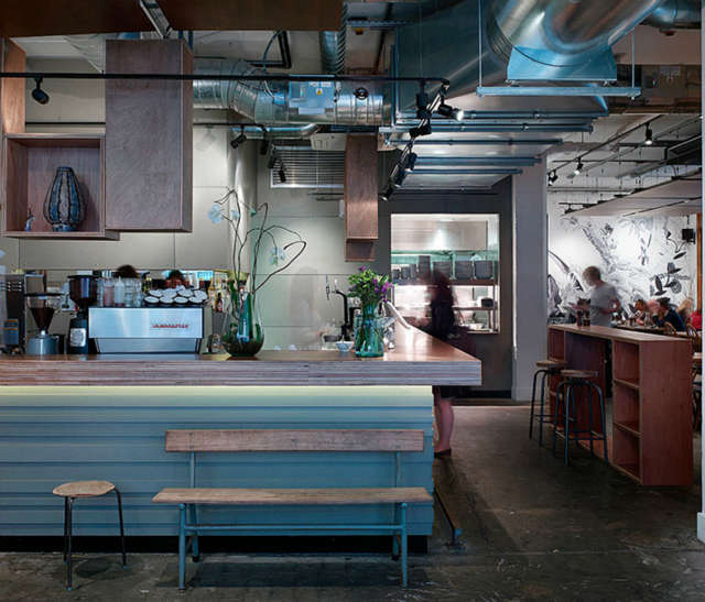 Salvation Jane: Salvation Jane is a 65 seater restaurant and bar located in Shoreditch, London.Australian influences were key in this project, the name Salvation Jane comes from a flowering plant that was brought to Australia in the 00's by an English immigrant named Jane Patterson. The design palette was derived from the materiality of a typical Australian beach house and interpreted in a simple format to maintain the desired minimal independent aesthetic. Photo: Kilian OSullivan