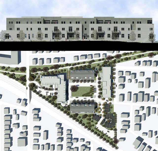 Maxpac Square, Sommerville MA: Masterplan of  units on 6 acres old factory site, including design of 6 apartment buildings.