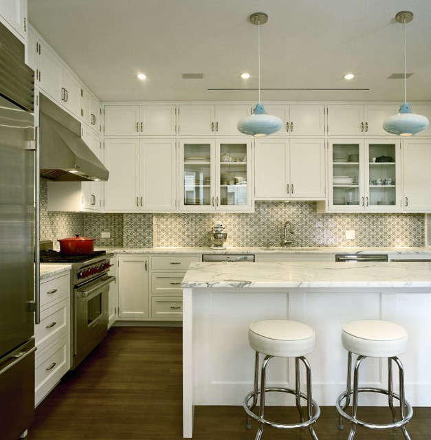 pre war apartment kitchen, nyc: new kitchen featuring a moroccan handmade tile  10