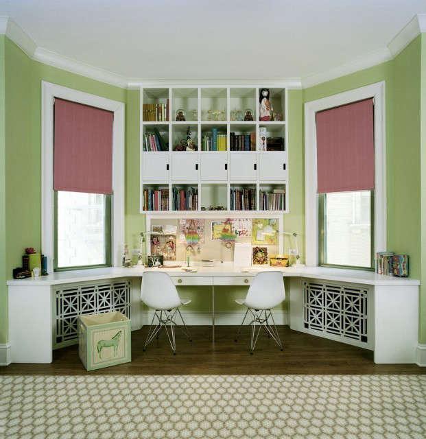 pre war kids room desks, nyc: a shared work area inside a bedroom for \2 teenag 27