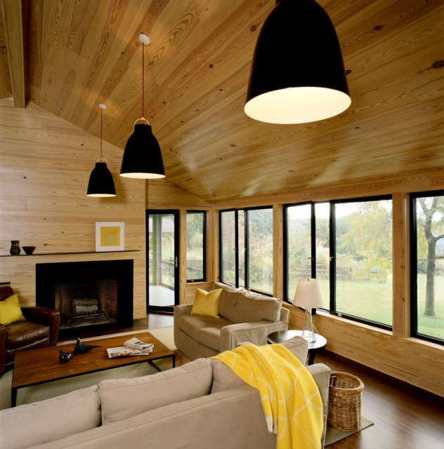 weekend house living room: living room addition to an existing house features a 18
