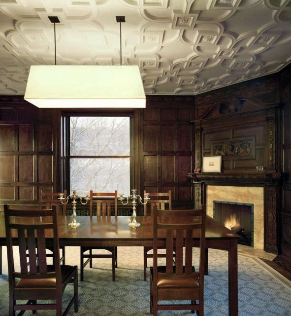 pre war apartment dining room, nyc: dining room with a refurbished plaster ceil 14