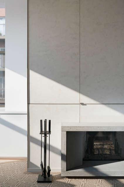 Leone Design Studio Meatpacking Loft: fireplace Photo: Albert Vecerka
