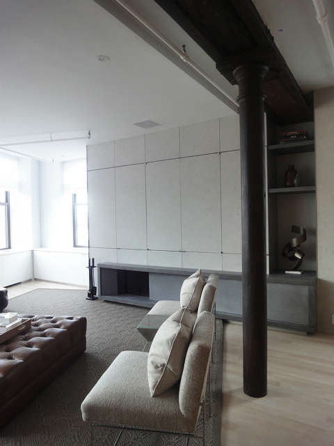 Leone Design Studio Cast concrete fireplace