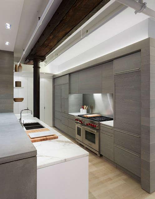 Leone Design Studio Meatpacking Loft: kitchen Photo: Albert Vecerka