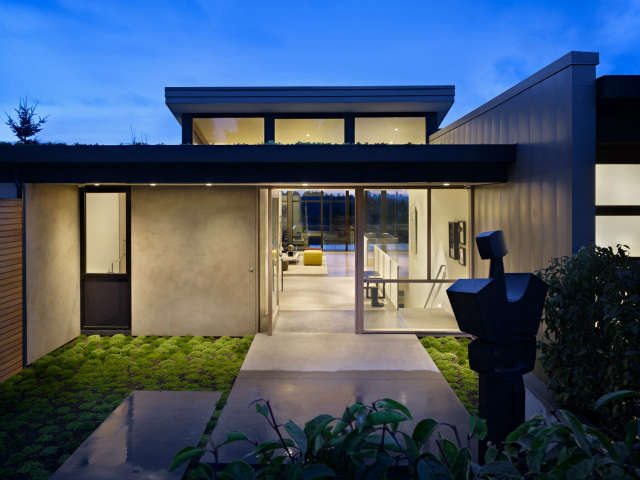 hillside modern entry: perched on a hilltop in a suburban neighborhood, defores 31