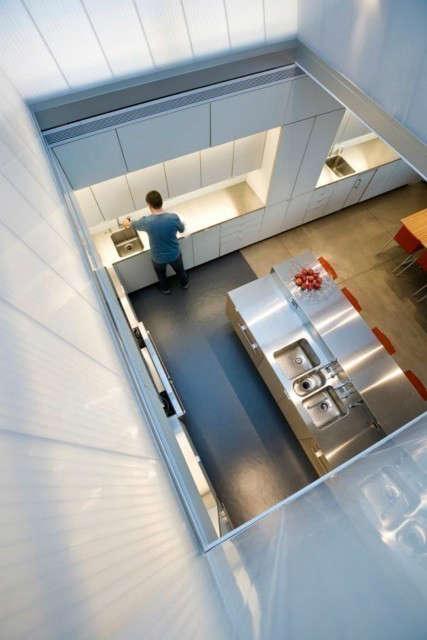 house on lake okoboji &#8\2\1\1; kitchen: view of kitchen through sculpted  19