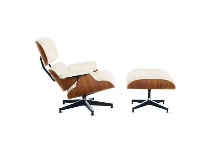 The Eames Lounge Chair is available in a variety of colors and finishes, including ivory leather and natural cherrywood.
