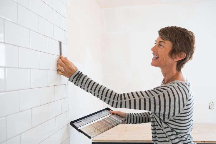 Amanda Pays picking tile grout Laure Joliet Remodelist